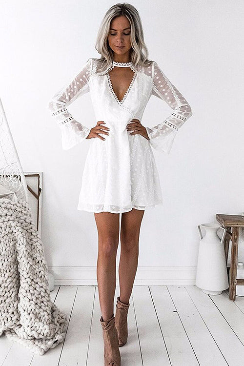 Lace Horn Sleeve Choker Flare Dress