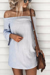 Stripe Off the Shoulder Tie Back Mini Dress