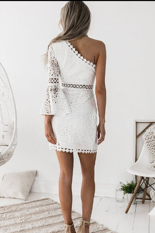 White Single Shoulder Lace Mini Dress