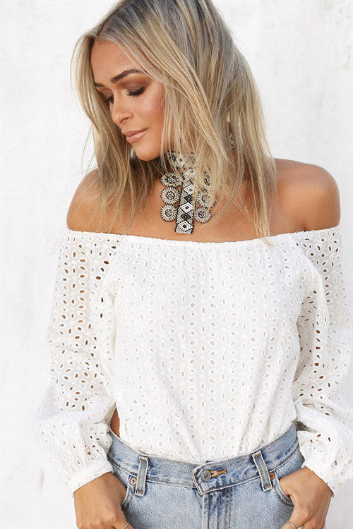 White Mesh Off Shoulder Top