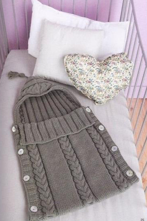 Knit Baby Hooded Bunting