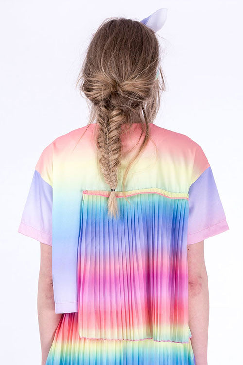 Rainbow Color Ruffle Top