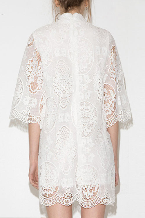 Lace Hollow-out High Neck Dress