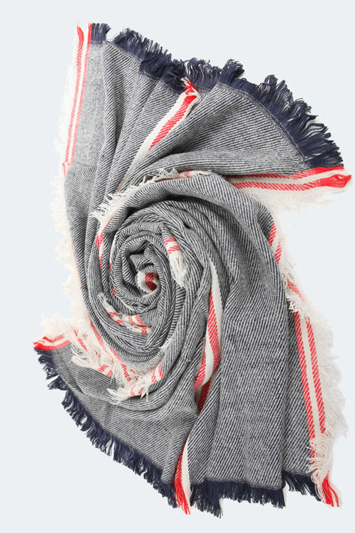 Stripe Tassel Fall Scarf