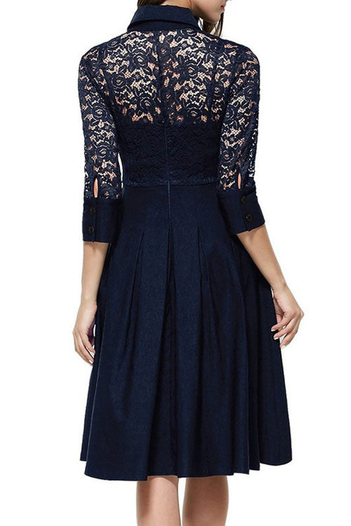 Stand Collar Half Sleeve Lace Skater Dress