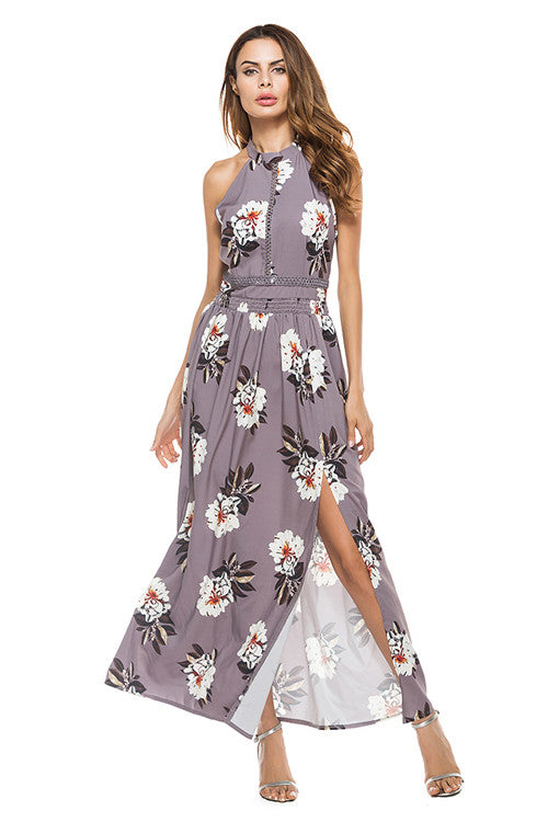 Grey Floral High Side Slit Maxi Dress