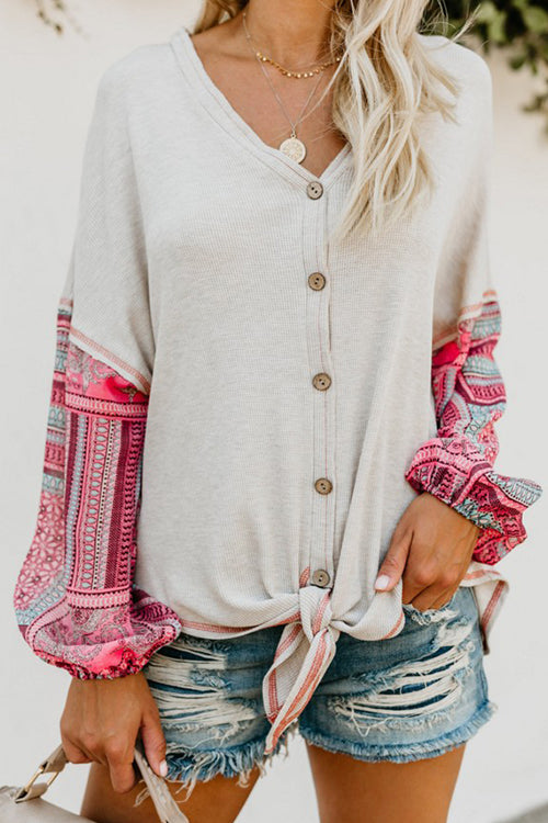 Boho Button Down Tie Top