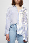 Asymmetric Long-Sleeve Striped Shirt