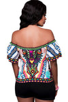 Print Off the Shoulder Backless Ruffle Blouse