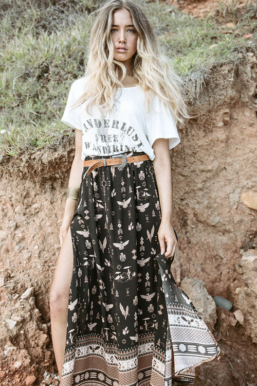 Bohemian See-Through Print Skirt