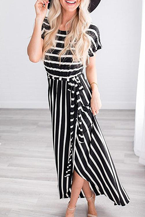 Stripe Tie-waist High-slit  Maxi Dress