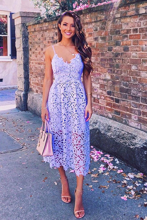 Spaghetti V-Neck Lace Midi Dress