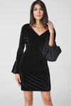 Black Ruffle Sleeve Midi Pleuche Dress