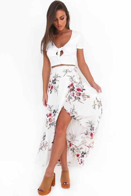 White Floral Print Wrap Skirt