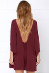 Ruffle Neckline V Back Cape Mini Dress