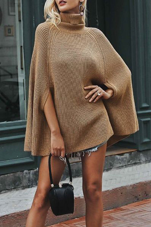 Street Fashion Khaki High Neck Cape