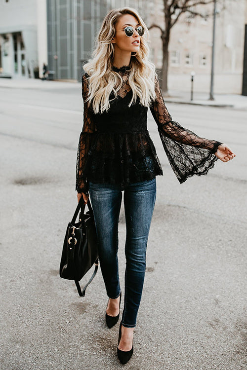 Angelena Black Lace Top