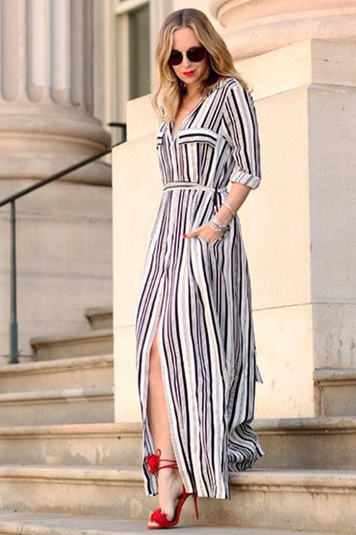 Stripe Pocketed Maxi Dress
