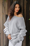 Flutter Sleeve Oversize Sweater
