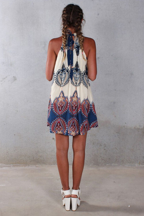 Ruffled Print Tie-Back Skater Dress