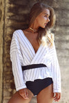 White Stripe v Neck Waist Shirt