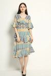 Ruffled Sleeve Striped Dress