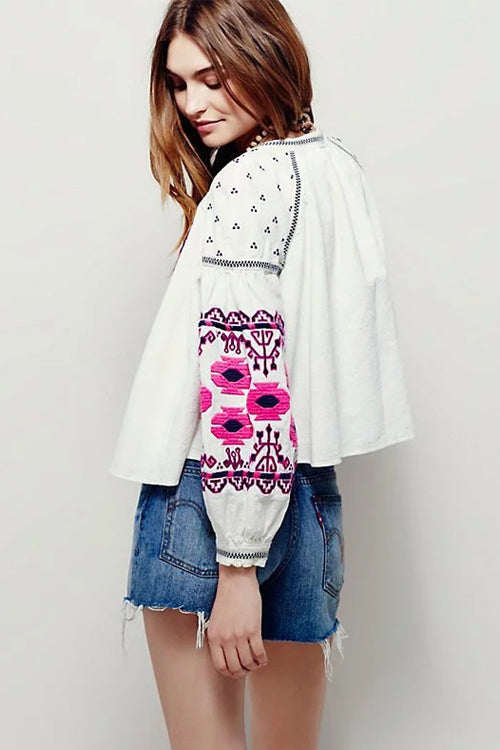 White Ethnic Embroidered Coat