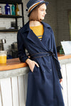 Saphire Overturned Collar Trench Coat