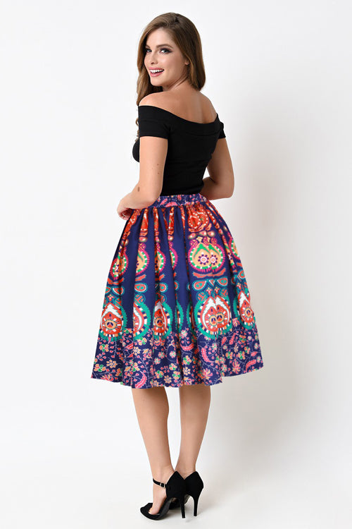 Print Color Mini Skirt