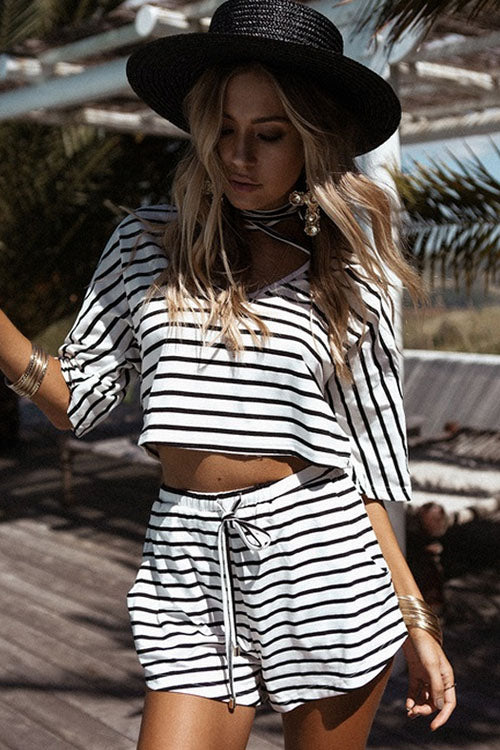 Casual Stripe Half Sleeve Suits