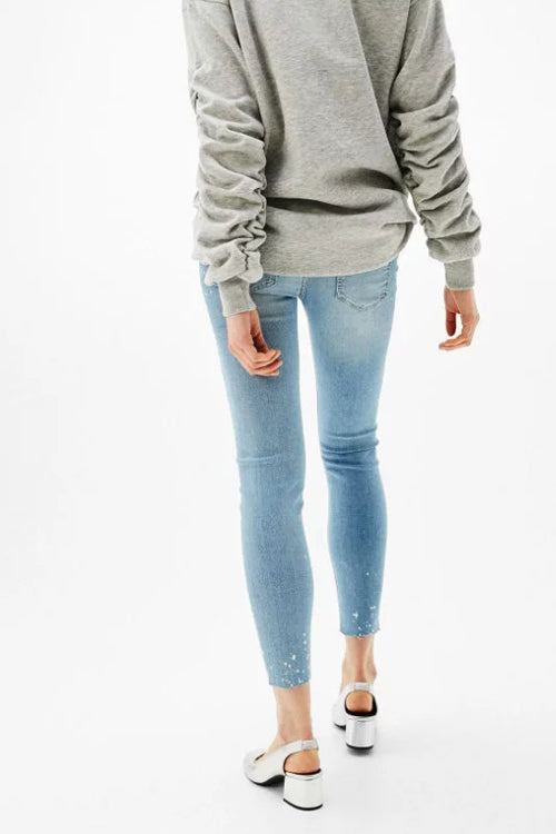Brushed Floral Embroidery Slim Jeans