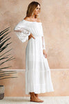 Lace Embroidered Bishop Sleeve Maxi Dress