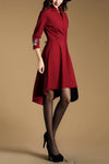 Wine Red Applique Midi Dress