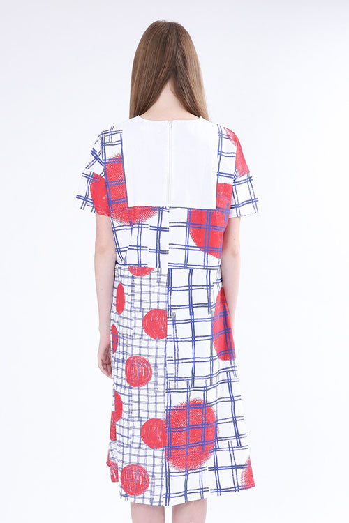 Red Dotted Crew Neck Plaid Midi Dress