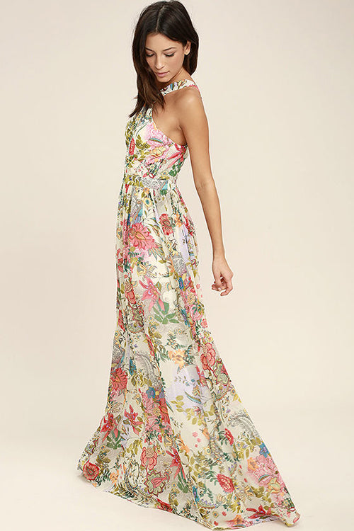 Halter-neck Print Maxi Dress