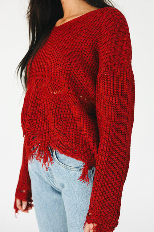 Pure Color Ripped Knitwear