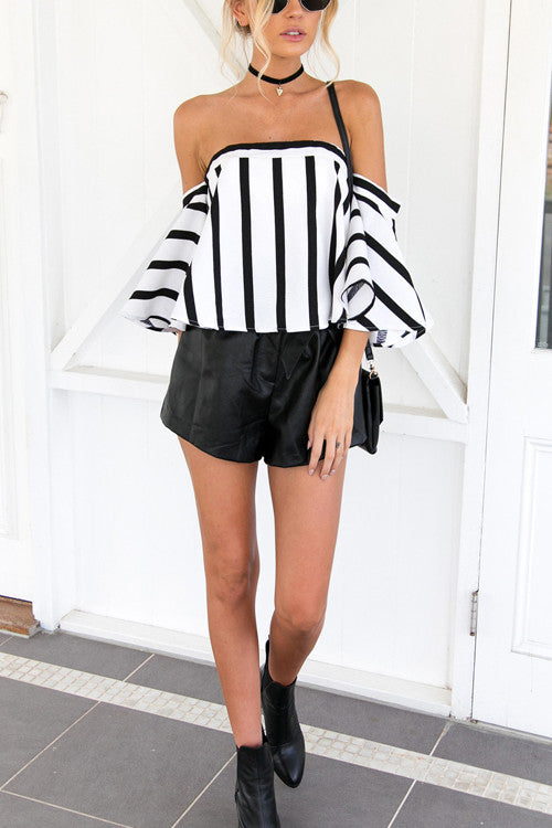 Stripe Print Off the Shoulder T-shirt