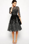 Embroidery See Through Lace Fit-Flare Dress