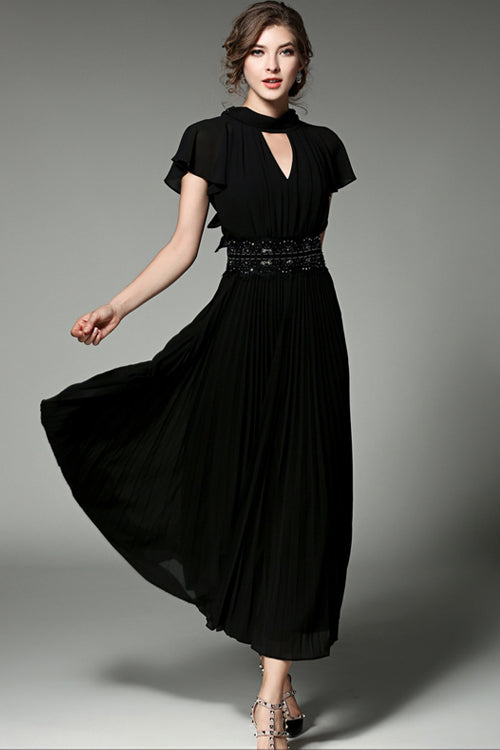 Black Pearly-lustre Ruffle Sleeve Maxi Gown