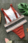 Brown Stripe Backless Bikini