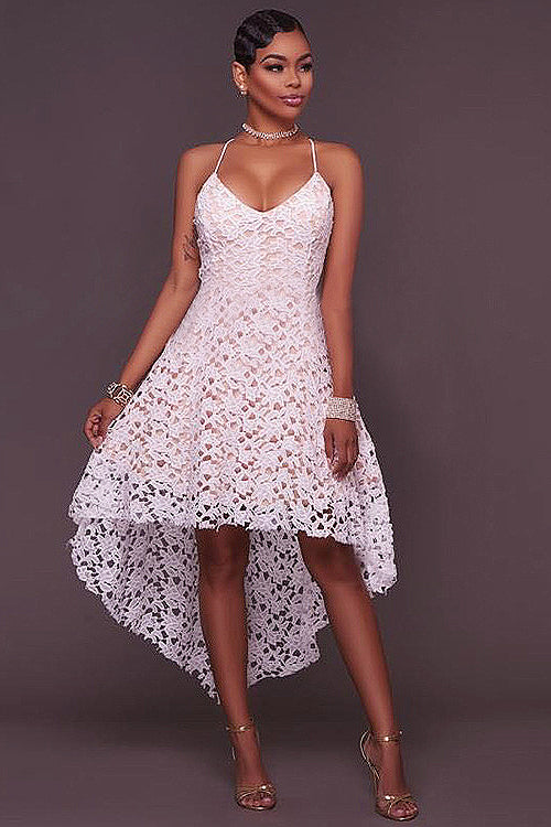 Lace Hollow-out High&Low Dress