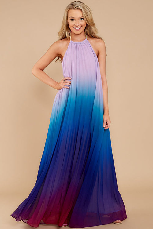 Multi Colors Halter Neck Maxi Dress