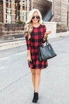 Ticket To Cozy Check Pattern Mini Dress