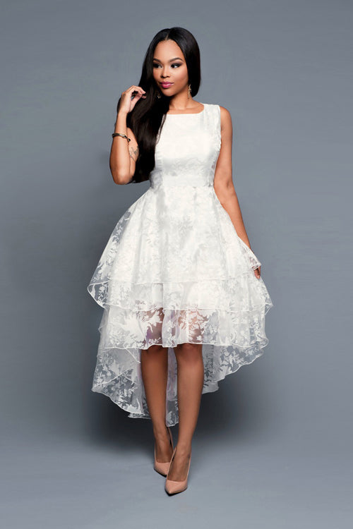 Tulle Embroidered Sleeve High&Low Dress