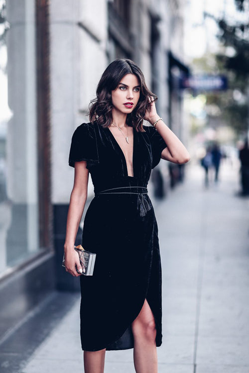 Short Sleeve V Neck Midi Dress