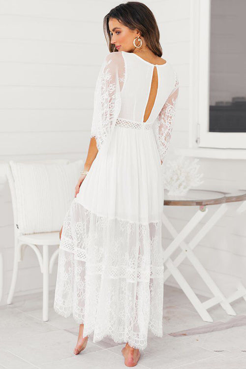 Half Sleeve Lace Maxi Dress