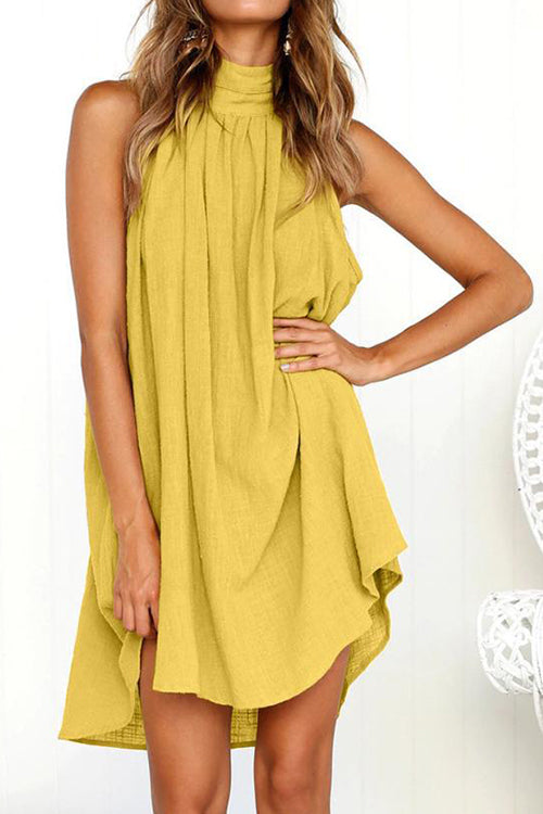 Sleeveless Halter A-Line Dress