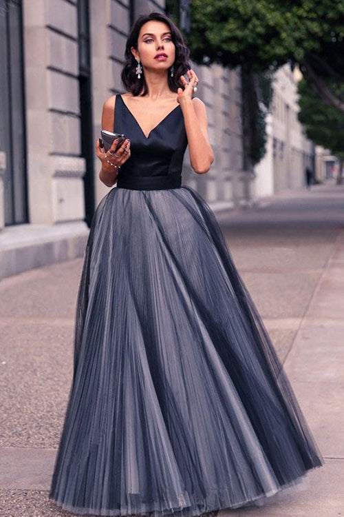 V-Neck Tulle Gown