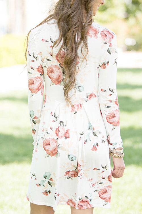 Floral Print Long Sleeve Mini Dress