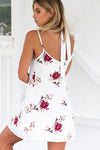 Open Back Spaghetti Print Waist Belt Mini Dress